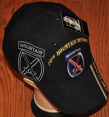 New Black 10th Tenth Mountain Division Army Hat Ball Cap Veteran Climb To Glory
