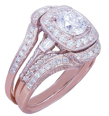 GIA H-VS2 14k Rose Gold Round Cut Diamond Engagement Ring And Bands 2.70ctw 3