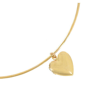 Gold Tone Small Photo Locket Heart Plain Pendant Bangle Necklace Made in USA](Gold Locket Necklace)