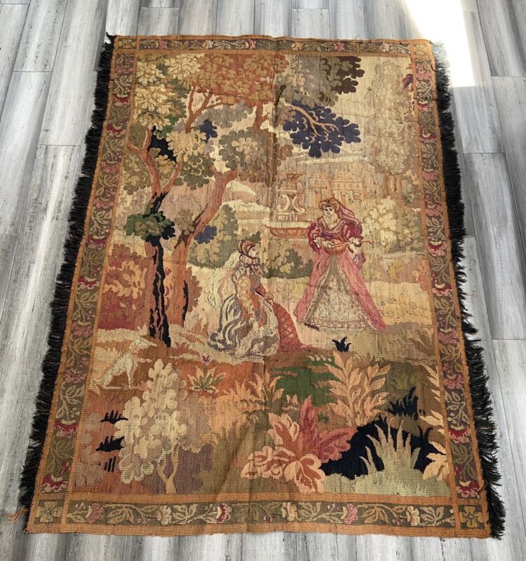 """Antique Victorian Woven Tapestry 61.5"""" x 45"""""""