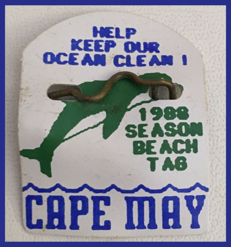 Vintage Cape May New Jersey 1988 SEASON BEACH TAG - Dolphin Design   (M418)