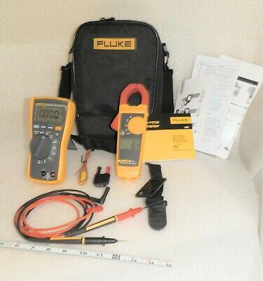 Clean Fluke 116 323 Combo Kit Hvac Dmm True Rms Clamp Meter Temp Probe Case
