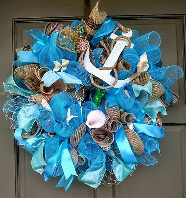 Nautical Beach Sea Shell Deco Mesh Summer Every Day Wreath Pool Boat Door Decor