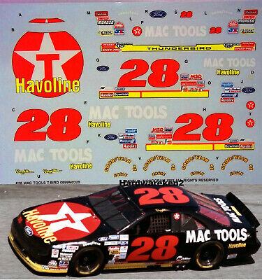 NASCAR DECAL #28 MAC TOOLS 1993 BGN FORD THUNDERBIRD DAVEY ALLISON - 1/24 SCALE