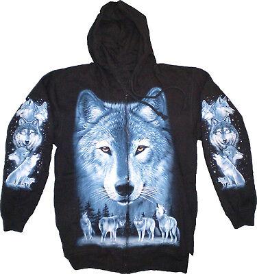 dy Kapuzenjacke Biker Sweats blauer Wolf Wolfsrudel  M-XL (Wolf Kapuze)
