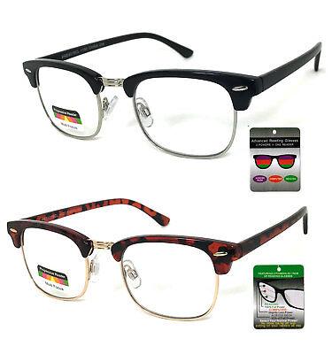 Retro Horned Rim Multi Focus + Reading Glasses 3 Power Strengths in 1 - Horned Rimmed Glasses