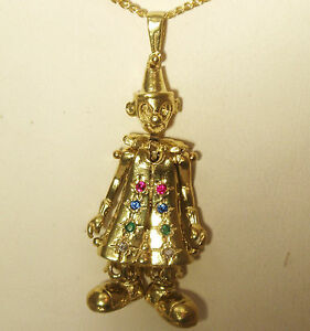 9ct yellow gold on silver moving multi gem rag doll clown