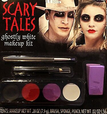 Halloween Makeup Ghost (Halloween Scary Ghost White Makeup Kit Zombie, Walking Dead, Skull,)