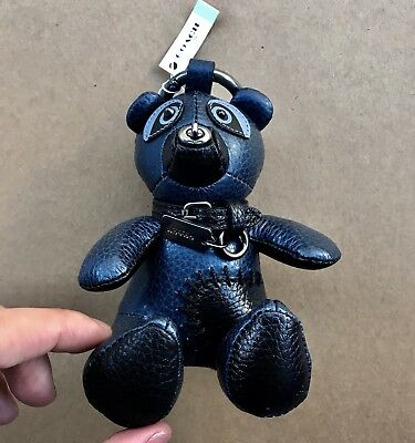 (Authentic Coach Leather Teddy Bear Key Chain Ring Purse Charm NEW 56749 Navy)