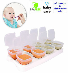 Baby Weaning Food Freezing Cubes Tray Pots Freezer Storage Containers BPA Free