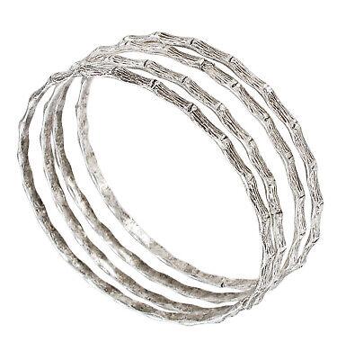Ky & Co Bamboo Bangle Bracelet Set of 4 USA - Standard Size - Silver Tone Bamboo Silver Bracelet Bangle