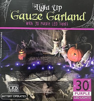 NEW HALLOWEEN PARTY LIGHT UP GAUZE GARLAND WITH 30 LED PURPLE LIGHT