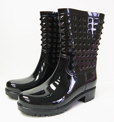 J2110 New Women's Betseyville Betsey Johnson Victoria Black Rubber Rain Boot 8 M