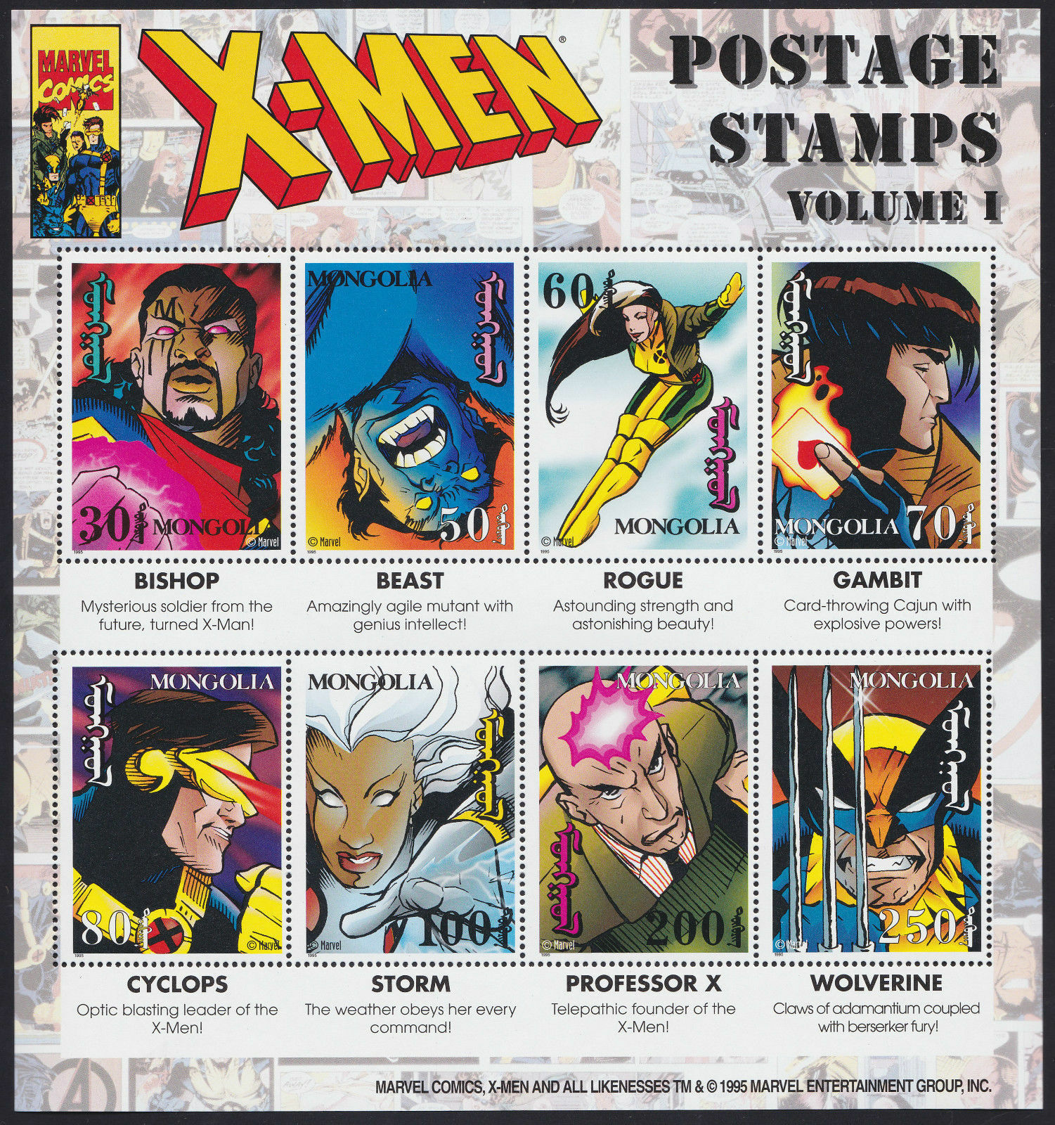 Marvel Comics X-Men Postage Stamp Collectors Sheet of 8 - Mongolia
