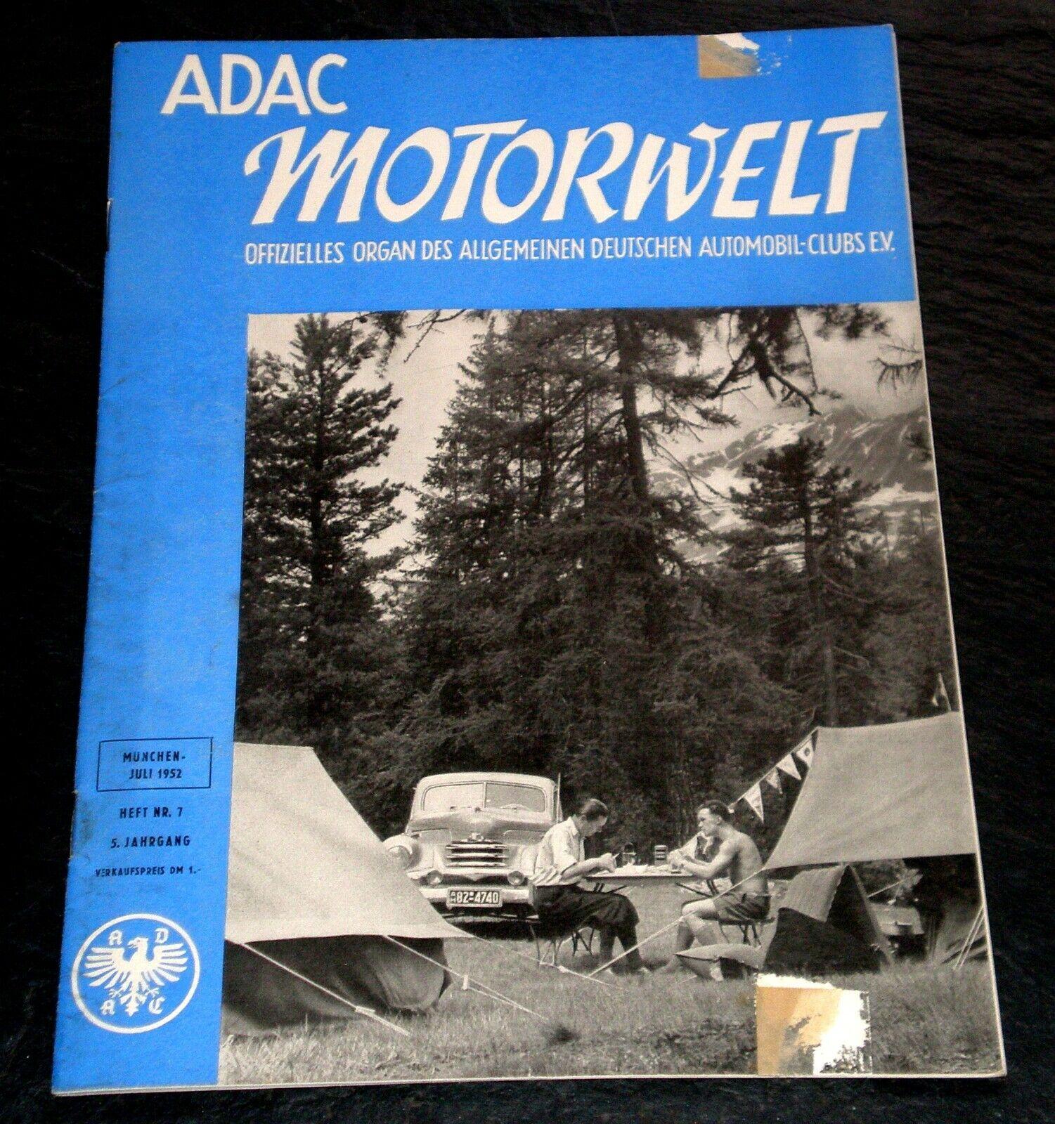 ADAC-Motorwelt 07/52 Test Zündapp Norma 200,Autoradio,Rallye Travemünde,Avus-Ren