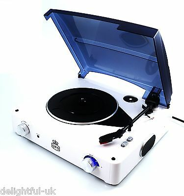 GPO STYLO Retro 3 Speed Record Player White Vinyl Turntable - Built In Speakers