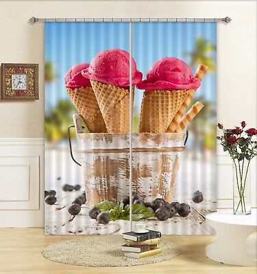 3D Ice Cream Cone 5 Blockout Photo Curtain Curtains Drapes Fabric Window CA  ()