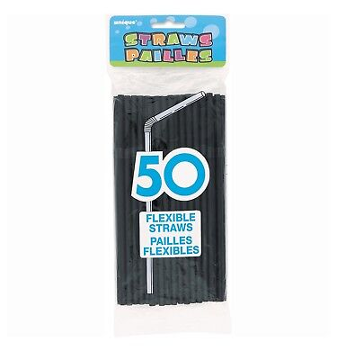 "50 Black Plastic Flexible Bendable 8"" STRAWS Halloween Birthday"