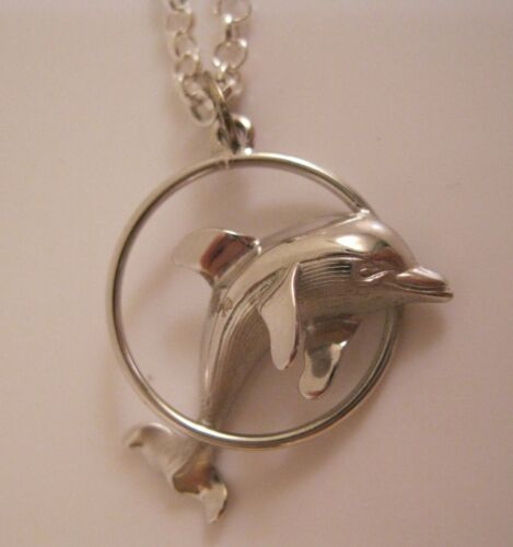 Vintage Dolphin Sterling Silver Pendant Sgd Beau & Silver Plated Chain Necklace