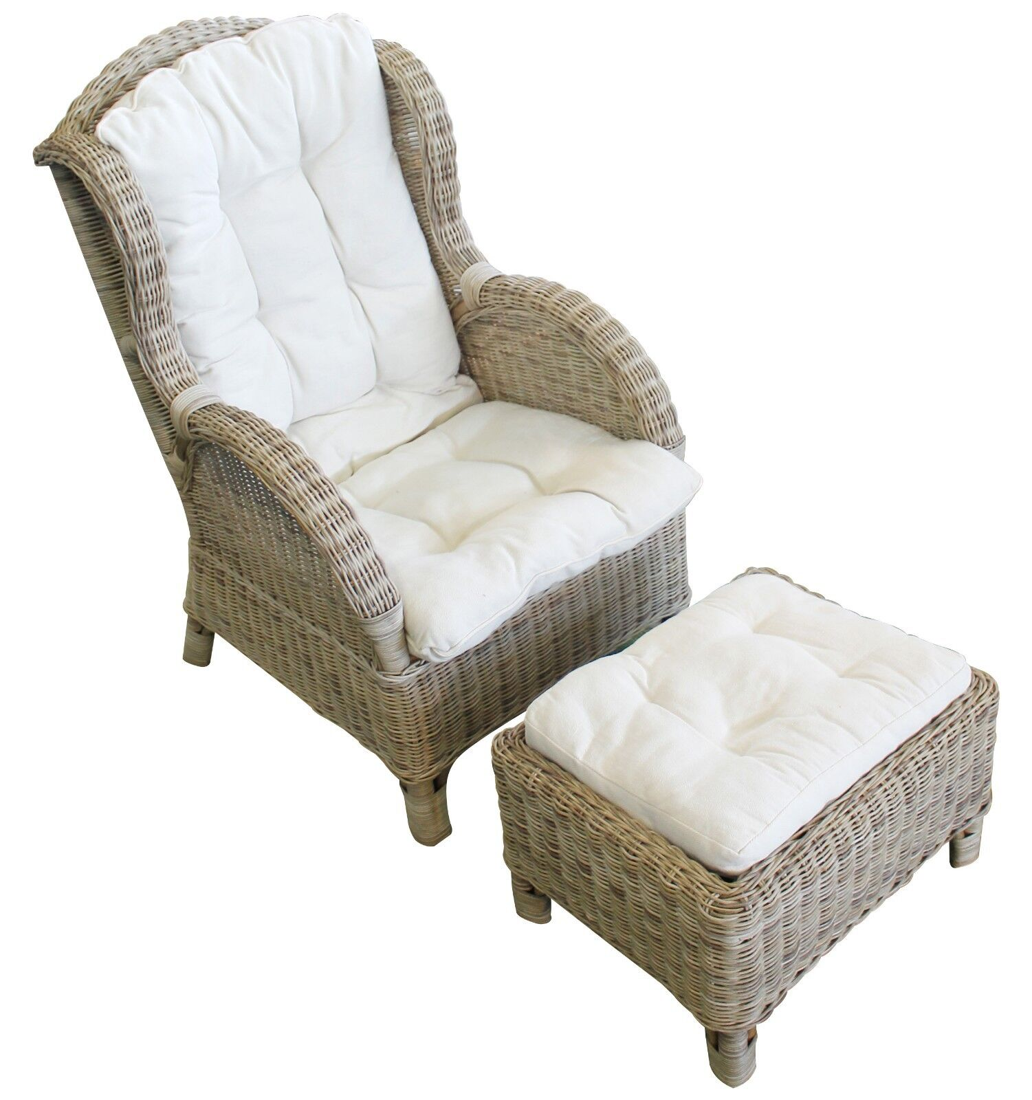 Rattan Sessel Relaxsessel mit Fußteil Ohrensessel inkl. Polster beige