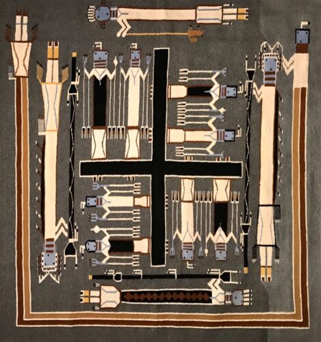 A SPECTACULAR NAVAJO SANDPAINTING RUG, POSSIBLY RUBY MANUELITO, EXCELLENT!