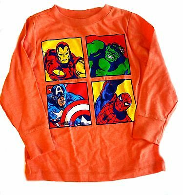 Old Navy Avengers Boys Shirt 2 Toddler Orange Iron Man Hulk Captain