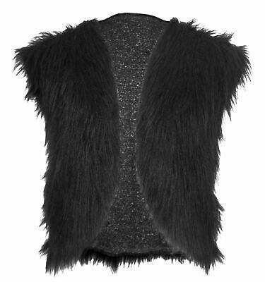 Childs 8-12 Yrs Black Bear Animal Faux Fur Waistcoat Mountain Man Fancy Dress - Black Bear Costume Kids