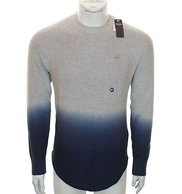 New Men's Hollister Jumper Sweater Dip Dyed Crew Neck £45 Grey Blue M L XL