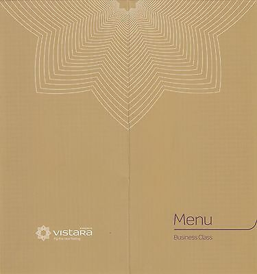 (96907) Vistara Airline India Business Class Menu 2017 on Lookza