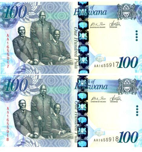 Botswana … P-33 … 100 Pula … ND(2009) … *UNC* ... Consecutive pair.