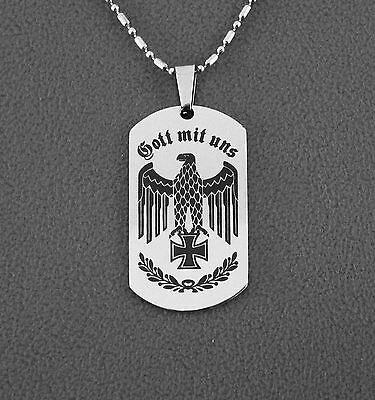 Edelstahl-Anhänger,Reichsadler,Gott mit uns,Eisernes Kreuz,Wehrmacht,WK2,silber
