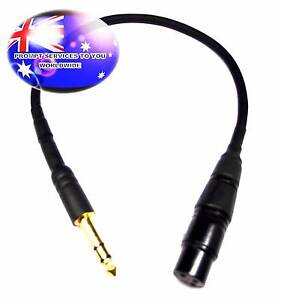 Quality 40cm XLR 3-Pin Female To 6.35mm 1/4 Male Stereo Cable Blk Parafield Gardens Salisbury Area Preview