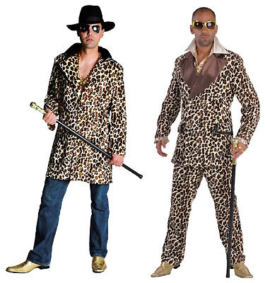 Disco 80er Jahre Anzug Kostüm Gangster Ganove Motto Party Pop Star Leopard - Mafia Gangster Kostüm