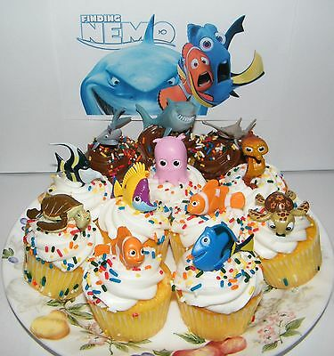 Disney Finding Nemo Cake Toppers Set of 12 Fun Figures with Dory, Nemo and More! (Nemo Cake)