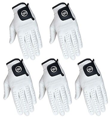 SG PACK OF 5 Men white Cabretta Leather Golf gloves Right & Left hand available ()