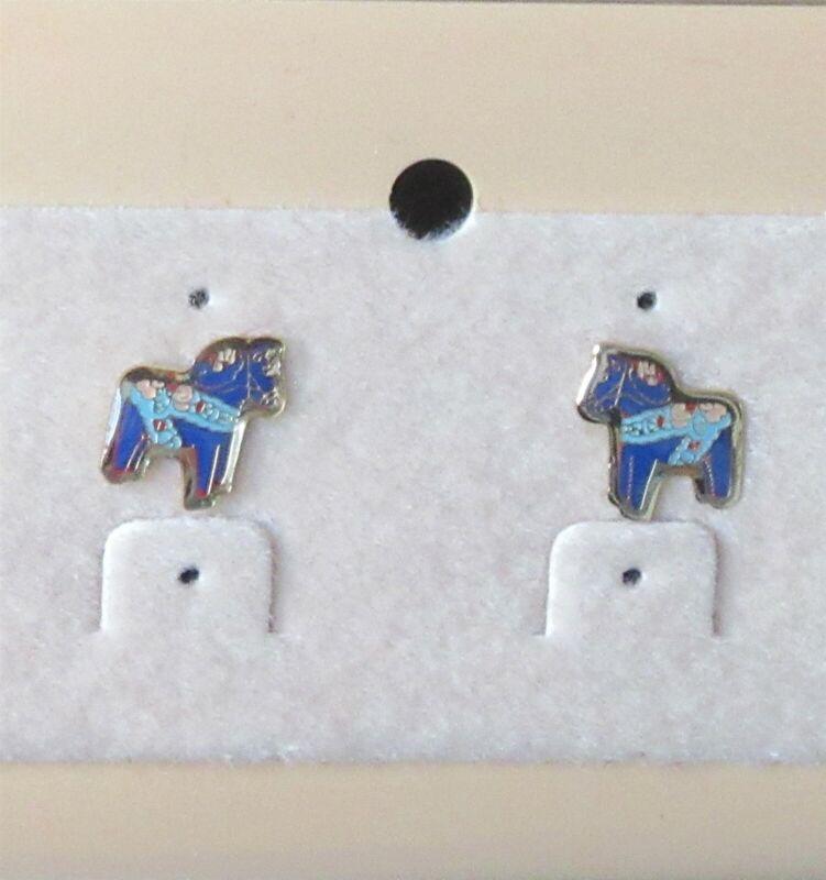 SCANDINAVIAN SWEDISH ENAMEL BLUE DALA HORSE POST EARRINGS