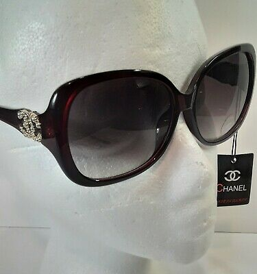 Women's Premium Quality Dark Red&Black Oversized Sunglasses 57mm Made (Italy Design Glasses)
