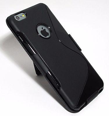 "Black Slim Soft TPU Gel Case with Slim Belt Clip Holster for iPhone 6 Plus 5.5"""