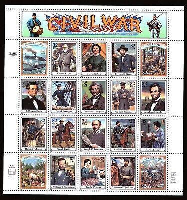 US - Sheet of 20 - Sc# 2975a-t - Civil War - MNH