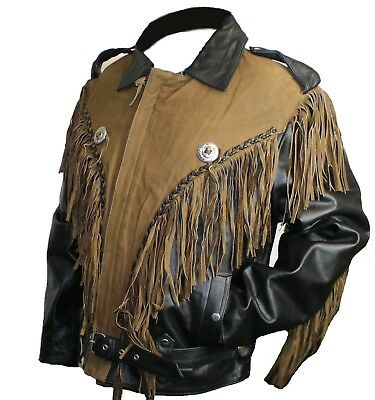 Men Genuine Leather Black/Brown Fringed Leather Motorcycle Jacket  - Fringe Motorcycle Jacket