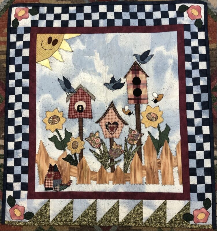 CUTE HANDMADE APPLIQUE BIRDHOUSES QUILTED WALL HANGING
