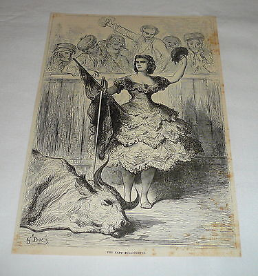 1878 magazine engraving ~ THE LADY BULLFIGHTER Bullfighting, Spain