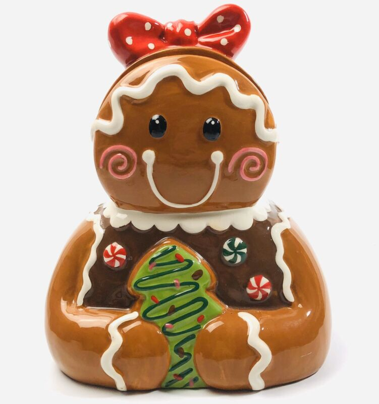 Certified International Girl Gingerbread Cookie Jar Red and White Polka Dot Bow