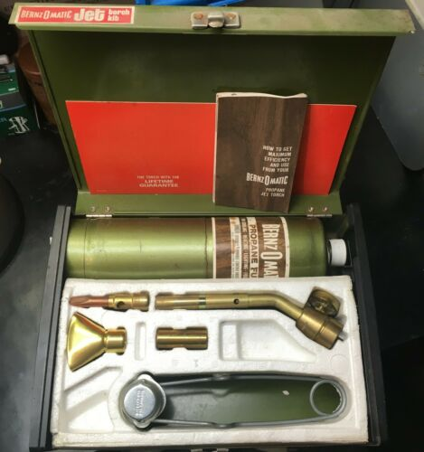 Vintage Bernz O Matic Propane Jet Torch Kit Never Used Sealed Propane Bottle