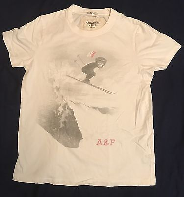 Men's Abercrombie & Fitch Monkey Ski Short Sleeve Muscle Tee White S 100% Cotton