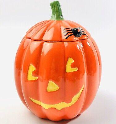 """7"""" Hallmark Ceramic Jack O Lantern Pumpkin Cookie Jar Candy Dish Spider EUC"""