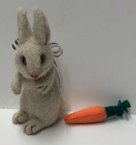 Original One Of A Kind Firm Needle Felted Rabbit with Carrot