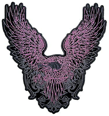 Lady Rider Large Pink Flying American Bald Eagle Embroidered Biker Patch