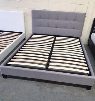 Brand new fabric bed with super strong slats D$240,Q$260