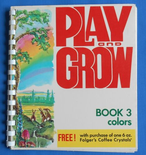 Vintage FOLGERS COFFEE CO Mechanical Book PLAY AND GROW #3 COLORS